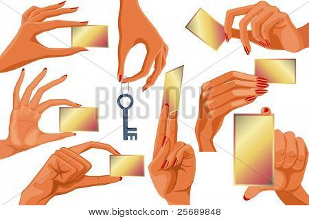 Set of women's hands holding empty business cards and key