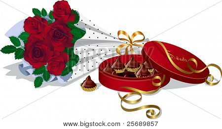 Bunch of red roses and box of chocolate candy truffles