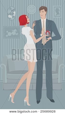Vector illustration of the woman giving a gift the man at home