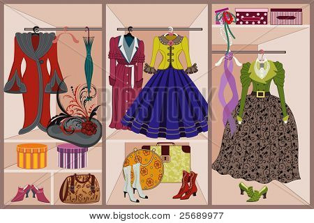 Wardrobe with vintage clothing