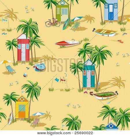 Fondo con cabañas de playa