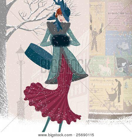 Vintage tarjeta de Navidad con mujer elegantemente vestida con caja caminando por la calle en blizzard