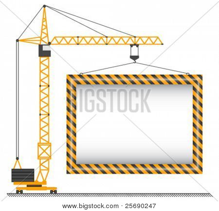 vector crane lifting cargo on a white background