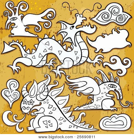 Dragons, Chinese New Year 2012. Vector set of sketchy, doodle dragons and decorative design elements. Little fairy  dragon, cheerful Chinese oriental dragon, fantasy dragon, medieval emblem dragon