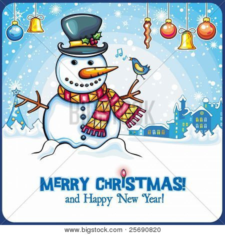 Christmas Snowman card. Cute snowball standing outside, in winter town with little singing bird. Holiday cartoon greeting card, with space for your text.