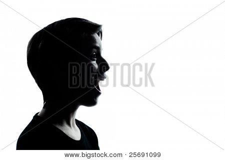 one caucasian young teenager silhouette boy or girl portrait in studio cut out isolated on white background