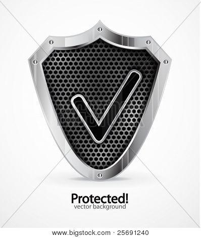 Fundo protegido. Escudo de aço de vetor com a marca de seleção