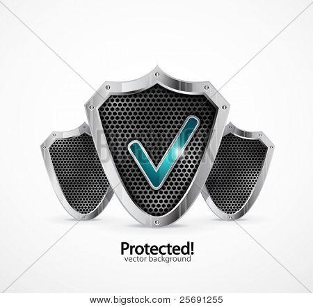 Fundo protegido. Escudo de aço de vetor com marcas de verificação