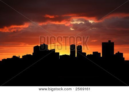 Fort Worth Skyline At Sunset