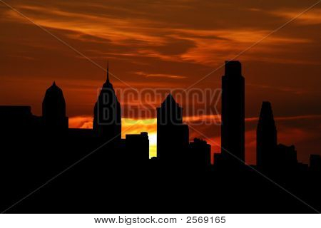 Philadelphia Skyline At Sunset