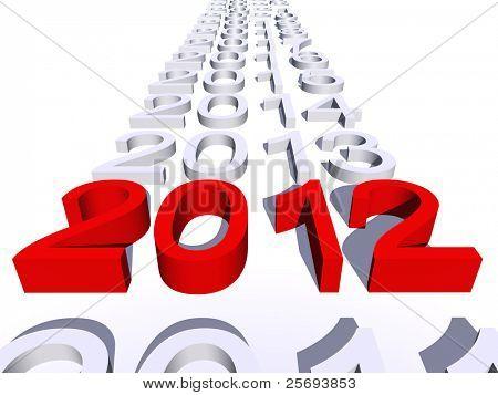 hohe Auflösung konzeptionellen 2012 Jahr in einer Reihe von Jahren isoliert auf weißem Hintergrund