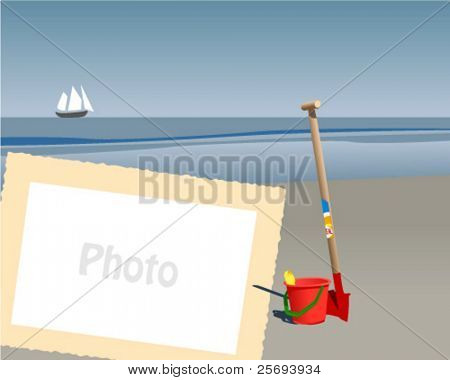 Sea with sailboat  and place to add your photo.