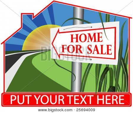 House for sale sign by sunrise .