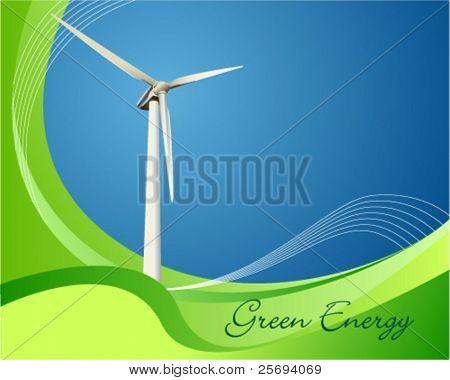 Vector illustration of a power generating wind turbine