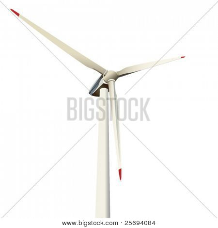 Vector illustration , close-up of a power generating wind turbine