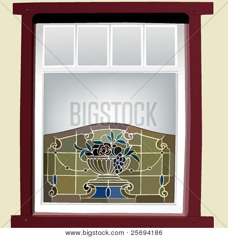 Vector illustration of a stained glass window
