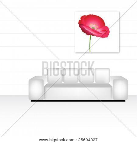 Vector White sofa in white room