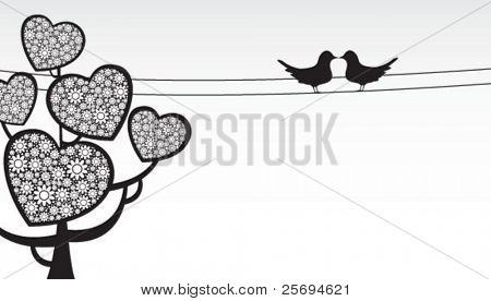 Heart shape Abstract tree with lovely Birds