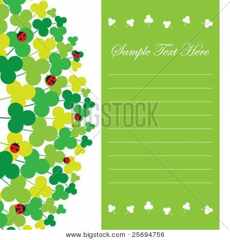 Cute clover and ladybirds memo template