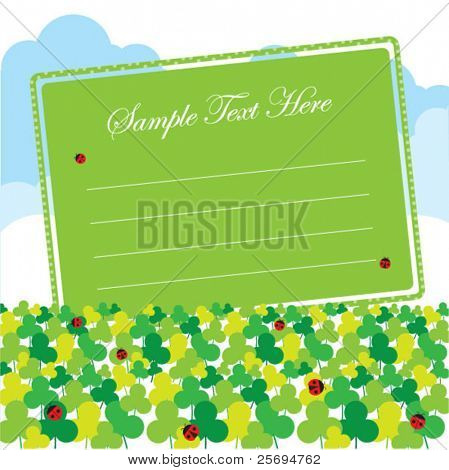 cute clover, ladybirds and sky memo template