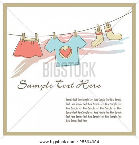 Cloths on the clothesline template 02