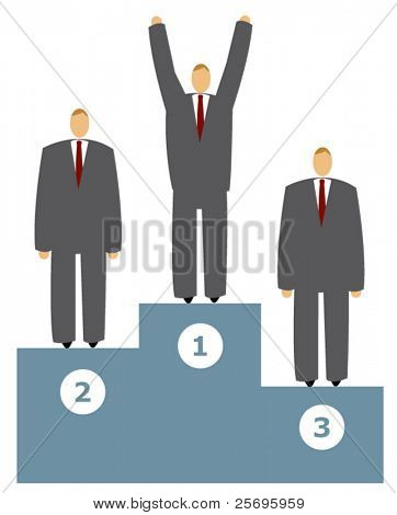 successful businessman winning the first place