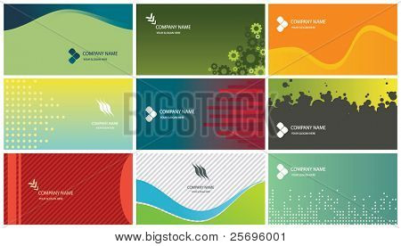 9 business cards templates (each card on separate layer)