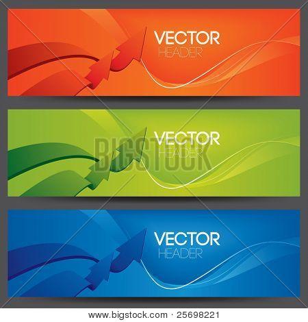 Vector web encabezados, concepto del éxito del negocio