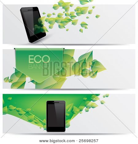 vector eco friendly website headers, smart phone promotion banners