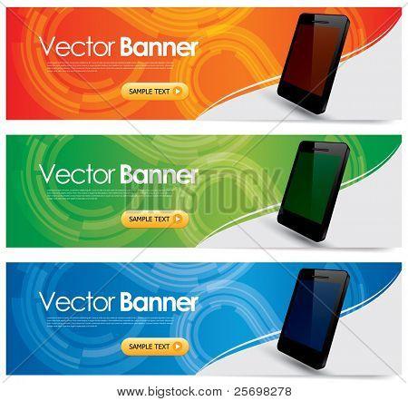 vector website headers, smart telefoon promotie banners