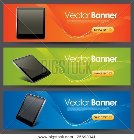 vector website headers, tablet pc promotion banners
