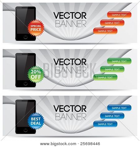 Vektor-Website-Header, smart Telefon Werbung Banner