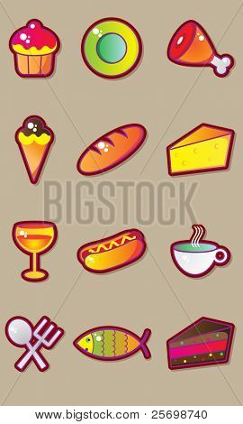 Tasty food vector set