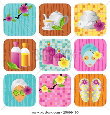 Spa salon icon vector set, health and beauty series