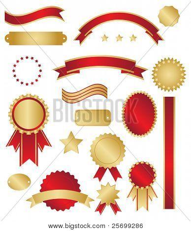 Rojo y oro clásico premios y remolinos sobre fondo blanco
