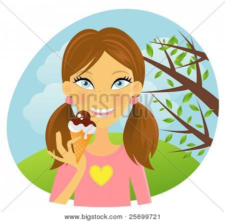 Girl eating ice-cream in the park