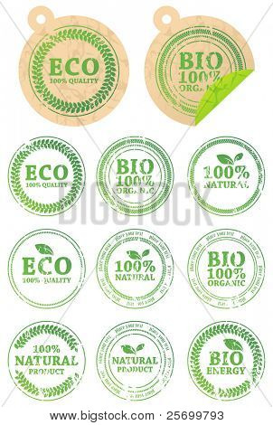 Set of different ECO rubber stamps