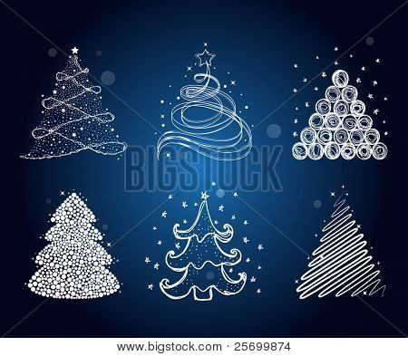 Set of the different christmas trees