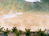 Top View Of Beautiful Beach. Aerial Drone Shot Of Turquoise Sea Water At The Beach - Space For Text. poster