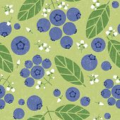 Blueberries Seamless Pattern. Berries With Leaves And Flowers On Shabby Background. Original Simple  poster