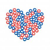 Social Network Marketing Like And Heart Icon In Heart Shape. Application Social Media Background Adv poster