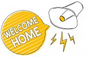 Handwriting Text Writing Welcome Home. Concept Meaning Expression Greetings New Owners Domicile Door poster