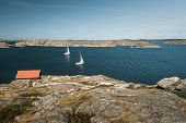 Sea Landscape With Yachts And Rocky Coastline On The South Of Sweden. Southern Coastline Of Sweden W poster