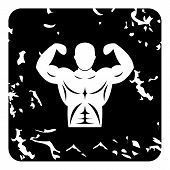 Strong Torso Icon. Grunge Illustration Of Strong Torso Icon For Web poster