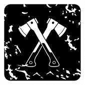 Two Crossed Axes Icon. Grunge Illustration Of Two Crossed Axes Icon For Web poster