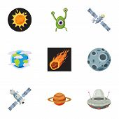 Universe Icons Set. Cartoon Illustration Of 9 Universe Icons For Web poster