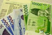 pic of passbook  - Korean Won denomination with bank book in korea - JPG