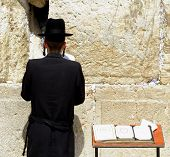 picture of tora  - young hasidic jew at the wailing western wall - JPG