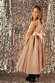 Little Girl In Fashionable Dress, Prom. Fashion And Beauty, Little Princess. Fashion Model On Silver poster