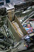 Rows Of Powerful Gun Ammunition Bullets. Bullet Belt, Bandoleer, Machine Gun. poster